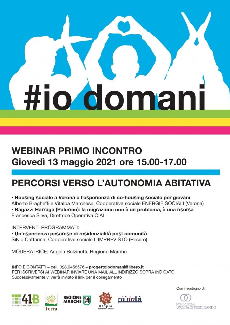 """""""#IoDomani.Percorsi verso l'autonomia abitativa"""", il webinar"""